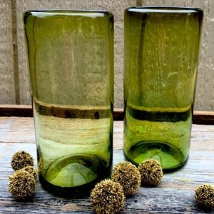 Blown Green Glass  Decorative Candle Cylinder Set